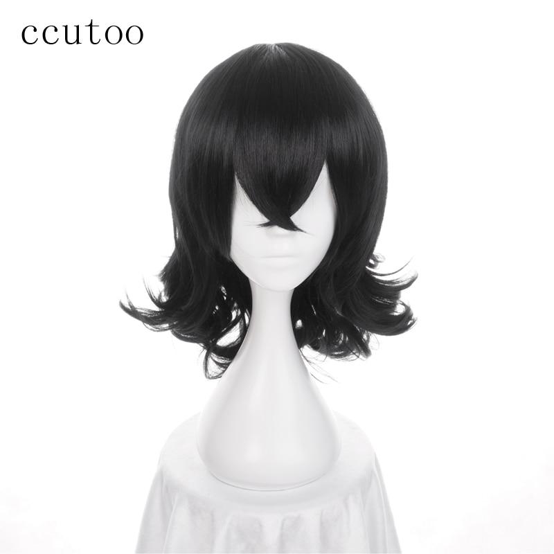 Ccutoo 45 cm Mon Héros Milieu Universitaire Boku no Hiro Akademia Shouta Aizawa Noir Bouclés Synthétique Cheveux Cosplay Perruque