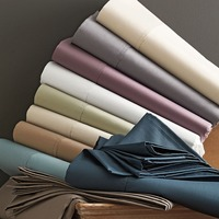 CHAUSUB Quality Solid Color Flat Sheet 1pc Satin Bed Sheets Cotton Bedding Bed Cover King Queen Size 7 Colors Silky bed linens