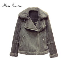 Winter Lamb Fur Faux Sheepskin Cashmere Short Coat Slim Female Winter Cotton Padded Grey Coats AS17088