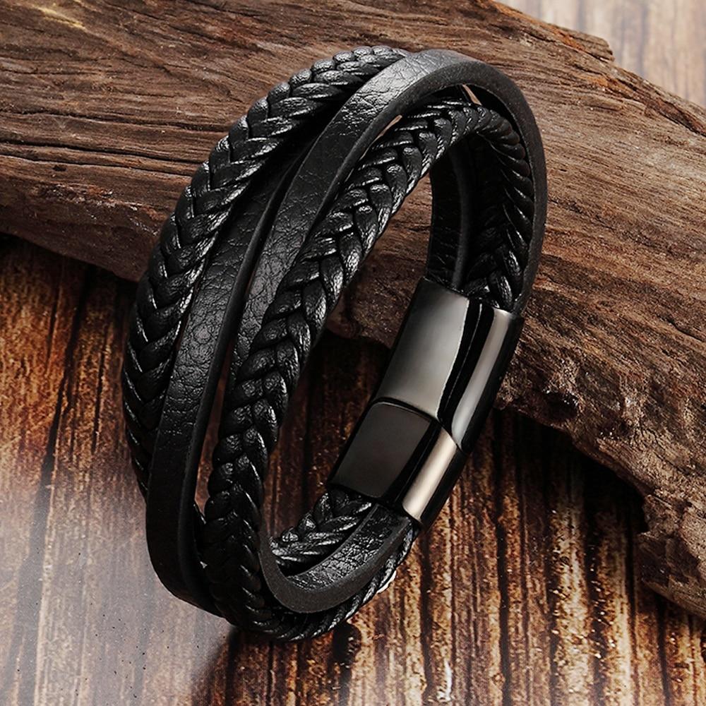 Trendy Genuine Leather Bracelets Men Stainless Steel Multilayer Braided Rope Bracelets for Male Female Bracelets Jewelry|Charm Bracelets|   - AliExpress