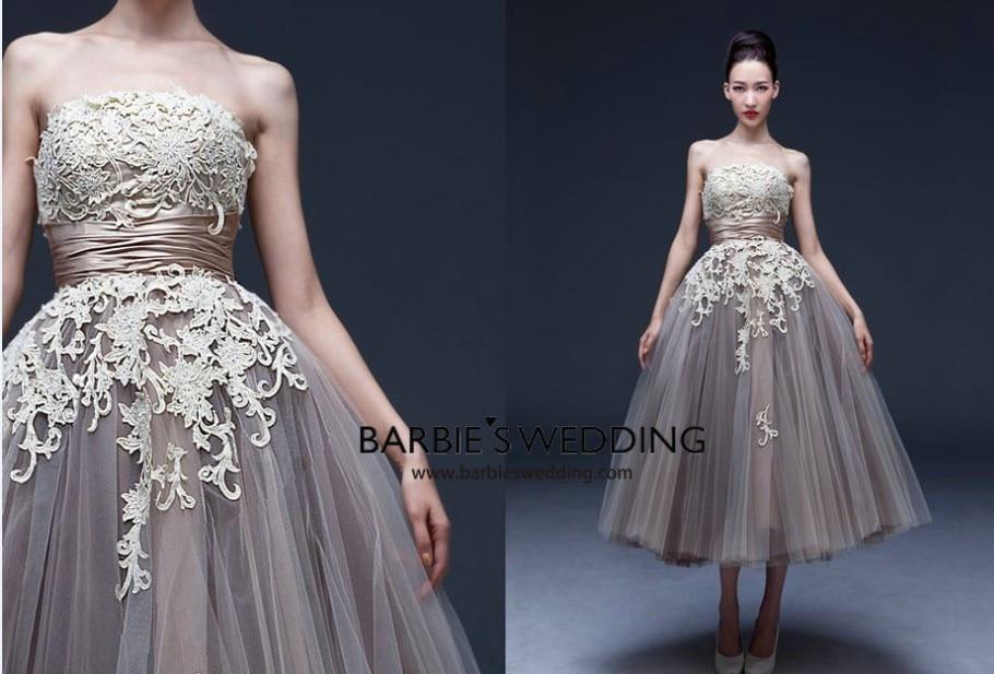 custom strapless vestido de festa evening gown appliques lace robe de soiree a-line 2016 free shipping sexy party   prom     Dresses