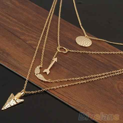 New Design Multiwall Set Punk Gold Angel Wings Arrows Collares Pendant Necklace 2J37