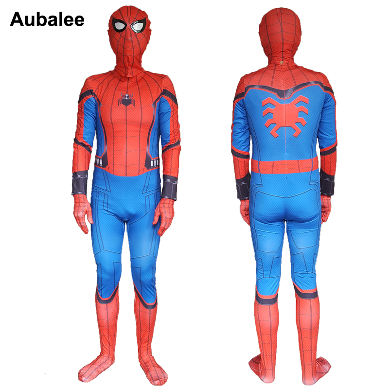 Adult Spiderman Homecoming Costume Spandex Amazing Spiderman Cosplay Costume Men Halloween Superhero Suit Fancy Full Outfit