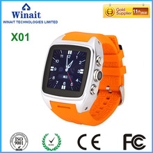x01 3G smart watch phone with touch display/metal panel WCDMA gsm Phone watch with gps/camera free shipping
