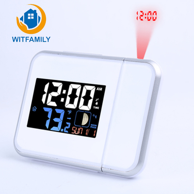 Rural Style Alarm Clock Quietly Simple Bedside Calendar Electronic Watch  Bedroom Living Room Digital Projection Luminous