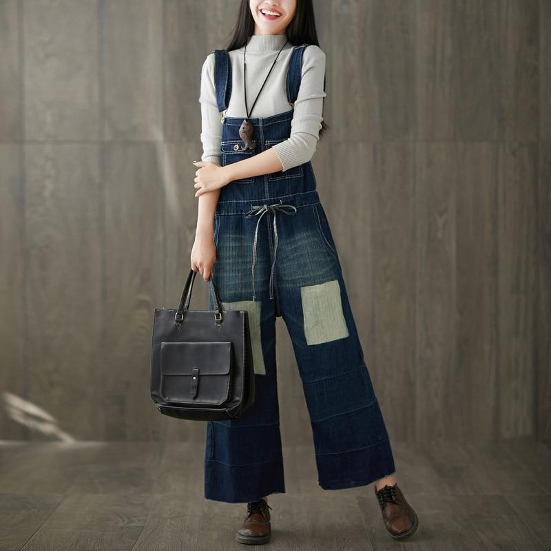 2018 nouveau grand yards lavé faire vieux trou jeans ceinture cordon bosse couleur restauration anciennes façons de salopette à jambes larges