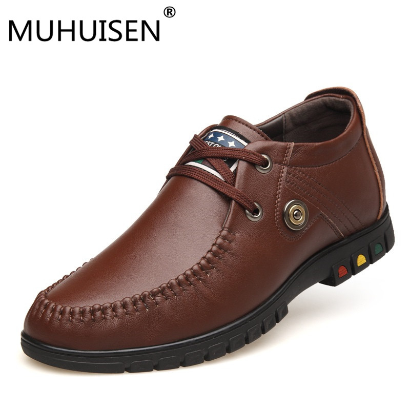 цены MUHUISEN Brand Luxury Men Dress Formal Shoes Fashion Genuine Leather Lace Up Flats Shoes Male Oxford Business Wedding Shoes