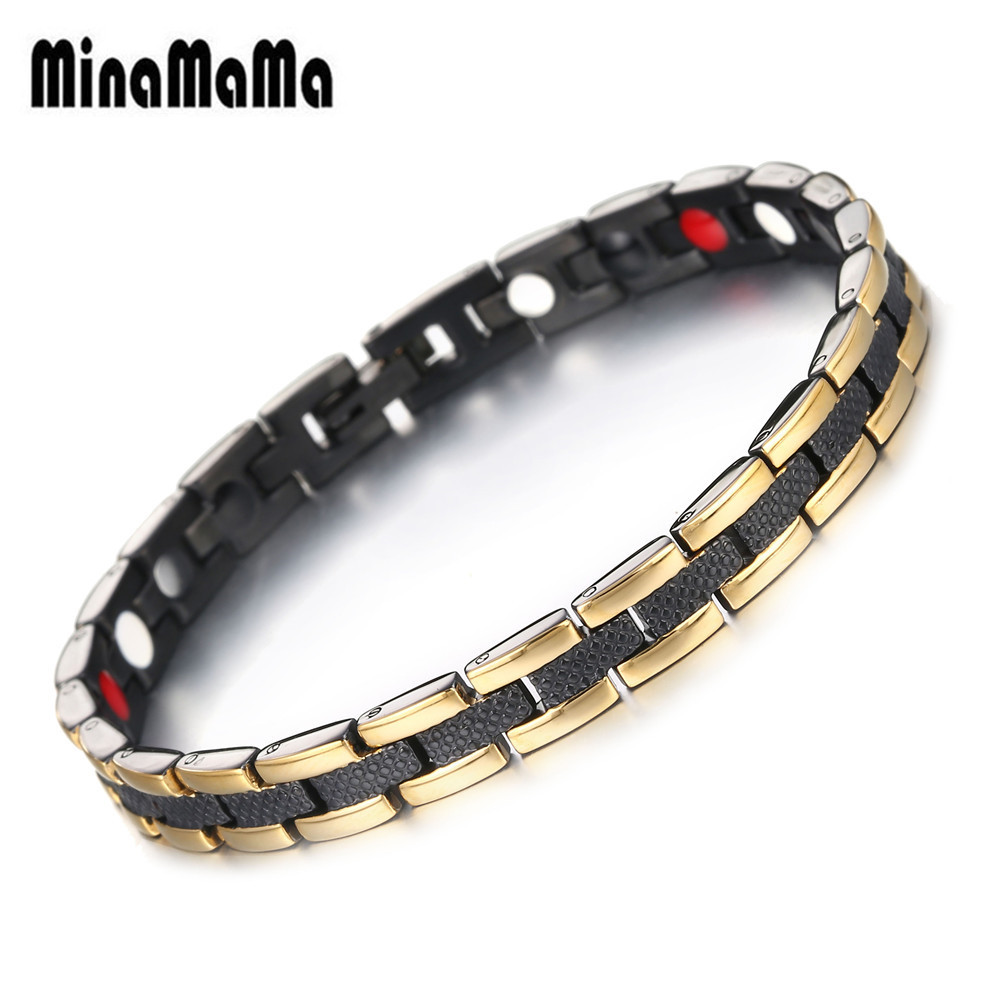 Healing Magnet Bracelet For Women Men Stainless Steel Health Care Magnetic Germanium Energy Power Bracelet Casual Jewelry