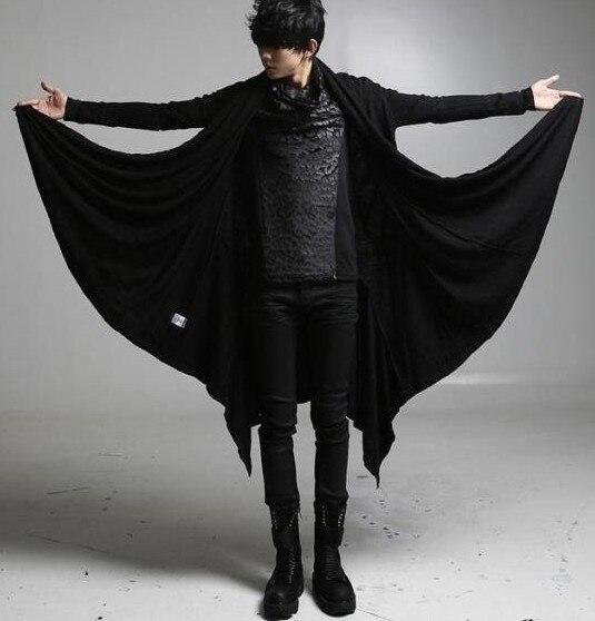men's punk hip hop black coat casual cloak open cardigan long cape trench coat