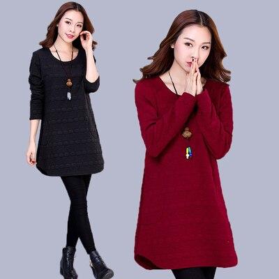 db968554e 4xl زائد كبيرة الحجم النساء الملابس 2016 ربيع الخريف الشتاء الكورية  vestidos جديد شتاء طويل فضفاض رقيقة اللباس الإناث A2045