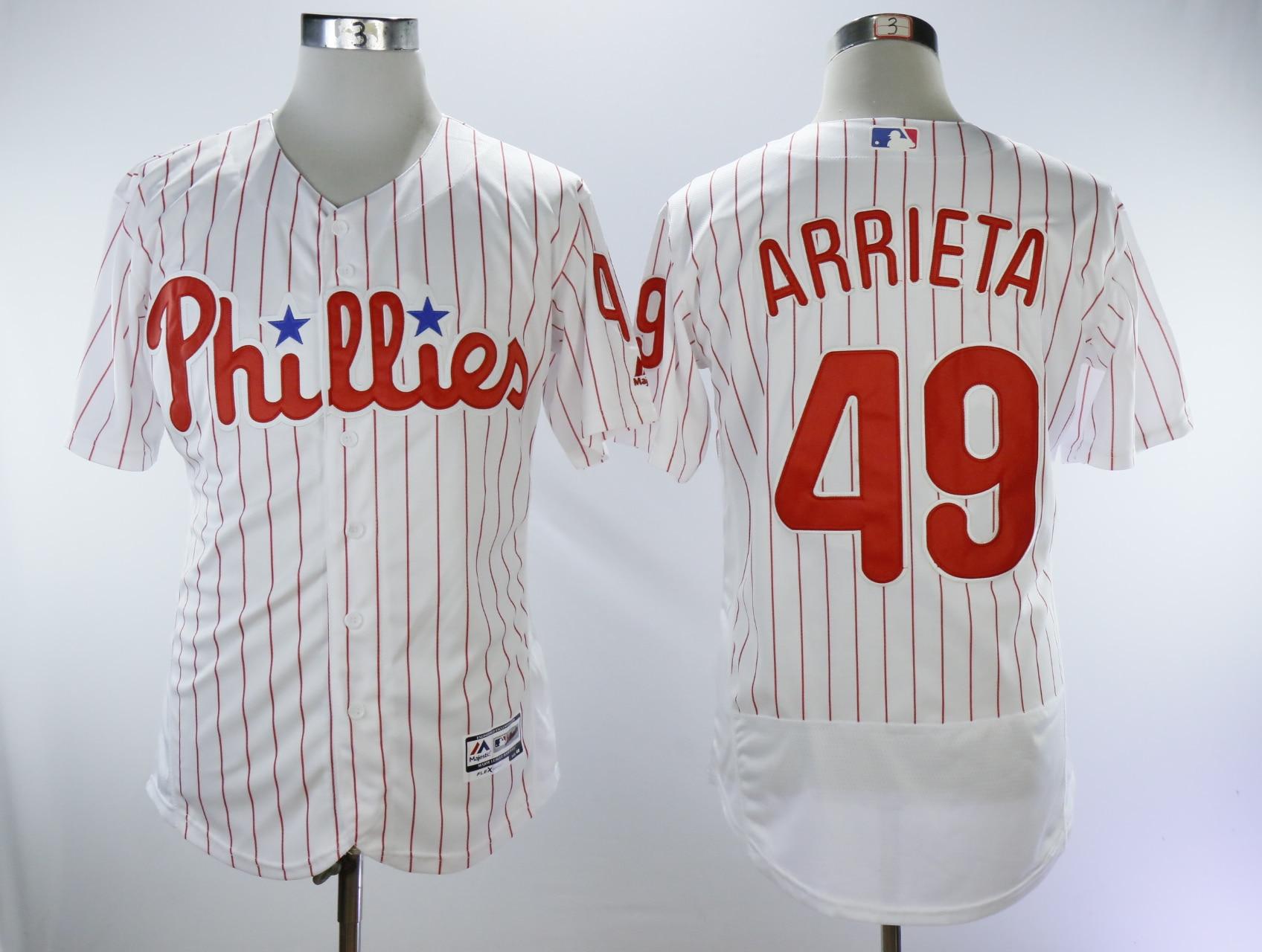 MLB Free shipping Mens Philadelphia Phillies Jake Arrieta Baseball Flex Base Jersey