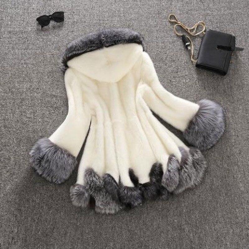 Parka Peluche 2018 Negro La Abrigo Fox Furry Largo Sintética Invierno Chaqueta Capa Exteriores Blanco Vestir negro Piel Blanco Gruesa De SZAddRn