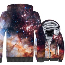 HAMPSON LANQE  Space Galaxy Star New 3D Sweatshirts 2019 Plus Size Men Hoodies Winter Warm Mens Jackets Hip Hop Streetwear