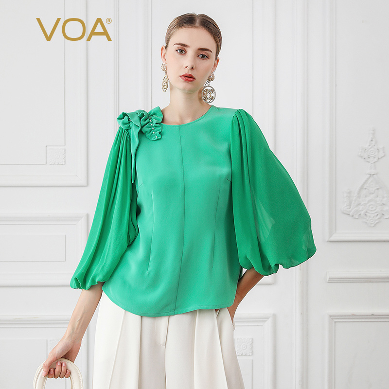 VOA Heavy Silk T Shirt Women Sweet Lantern Sleeve Ladies Tops 3D Print Pearl Beading Kawaii Tee Fall Mint Green Clothes B767