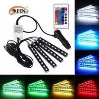 KEEN 4Pcs 12V Decorative Flexible LED Strip Atmosphere Lamp Car RGB LED DRL Strip Light 5050SMD