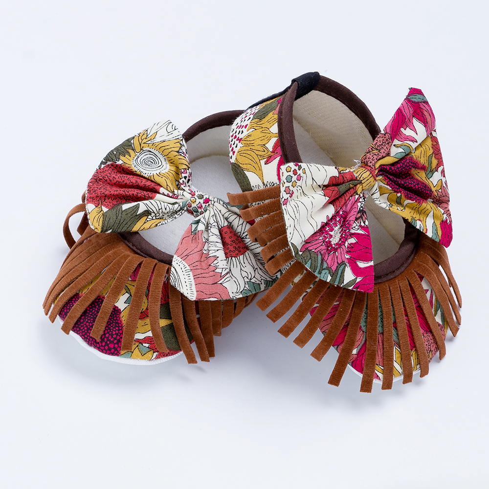 YK&Loving New Style Fringe Girls Shoes 0-2 year Infants Bow Toddler Shoes with Graffiti Cotton Newborn Shoes for Birthday Gifts