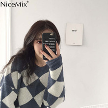 NiceMix Casual Plaid Sweater Women Pullover Winter Clothes O-neck Knitted Jumper Jersey Mujer Pull Hiver Femme 2019