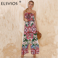 ELSVIOS Strapless Floral Print Long Rompers Womens Jumpsuit Backless High Waist Loose Overalls 2018 Summer Beach