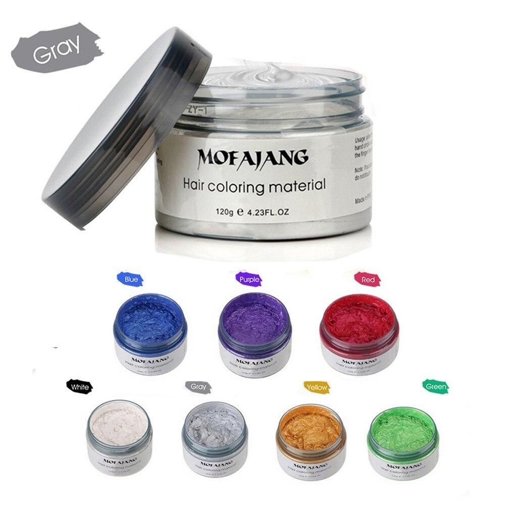 Mofajang prata cinza cor do cabelo cera homens mulher tintura cinza lama pomada harajuku produtos de estilo tintura de cabelo cera maquillaje compõem