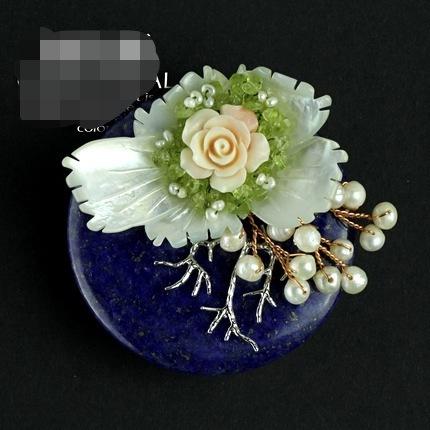 Lapis pedra peridoto pingente com flor e pérolas de água doce frete grátis mulheres jóias