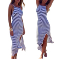Hot Sale Women Summer Beach Dress Striped Women Slim Sleeveless Sexy Club Wear Maxi Long Dress Ropa Mujer Clothing CD1365