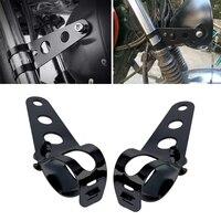 Emparelhado universal 33-45mm motocicleta farol suporte de montagem de aço moto garfo orelhas para bobber cafe racer preto/prata qiang