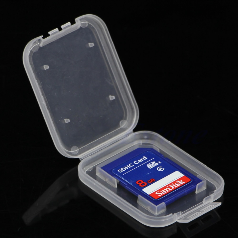 10Pcs SD SDHC Memory Card Holder Transparent Plastic Box Storage Case Protector