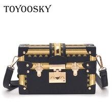 TOYOOSKY Vintage Handbags Clutch Retro Women Messenger Bags Panelled Box Bag Rivet Crossbody Shoulder Small Handbag Purse