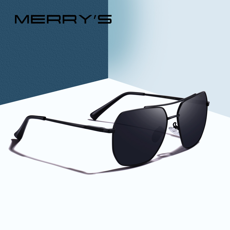MERRY'S DESIGN Men Classic Square Sunglasses Aviation Frame HD Polarized Sun Glasses For Men Driving UV400 Protection S'8211