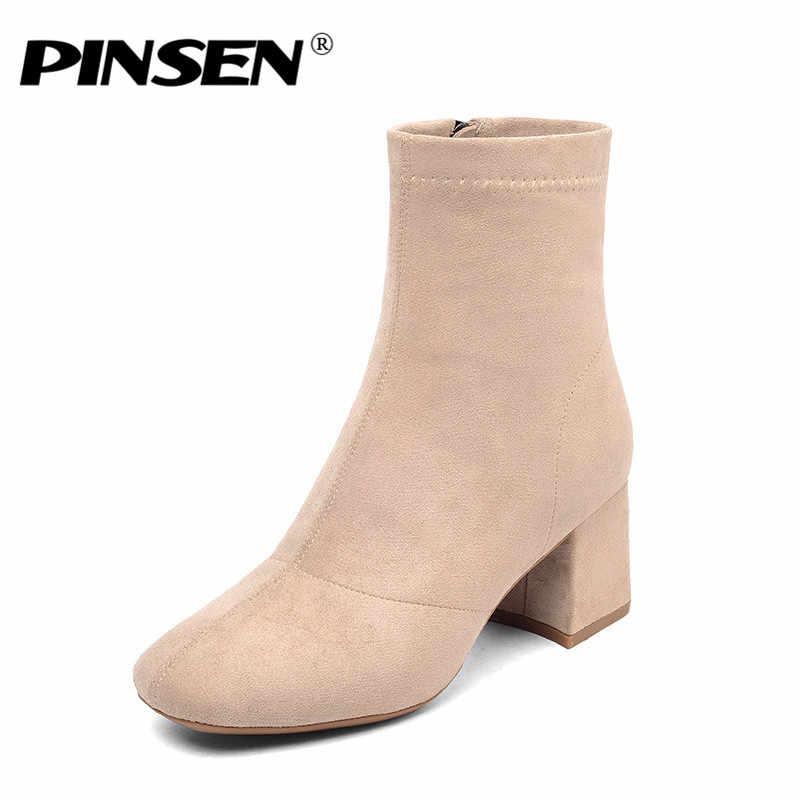 PINSEN 2019 Yeni Kış Kadın Botları Moda Yüksek Kaliteli Kar Botları Sıcak Tutmak Topuk yarım çizmeler Kadın Klasik Botas Mujer
