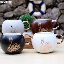 OUSSIRRO Animal Swan Ceramic Mugs Cute Coffee Mug Tea Big Belly Cup Pot Birthday Gift Decoration