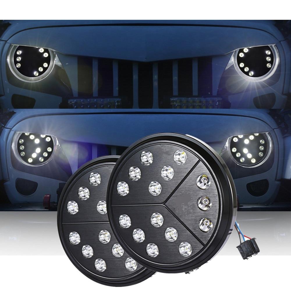 2 х 7 дюймовый круглый Hi/Lo луч светодиодные стрелка healight для 97-17 Jeep Wrangler TJ JK