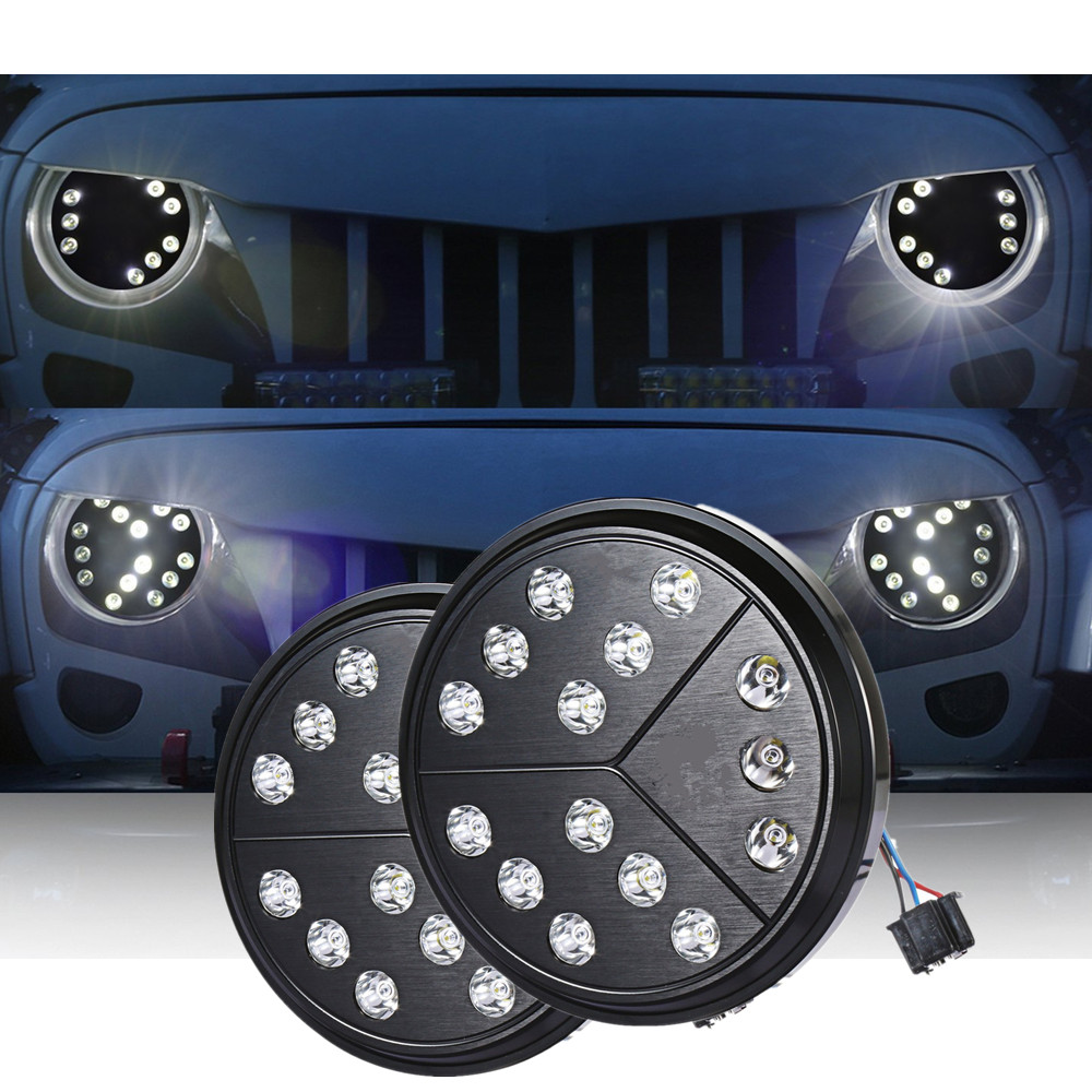 2X 7 Inch Round Hi/Lo Beam LED Arrow Healight For 97-17 Jeep Wrangler TJ JK
