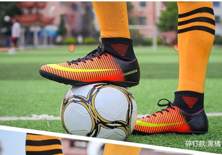 Botas de futebol tornozelo alto topos botas