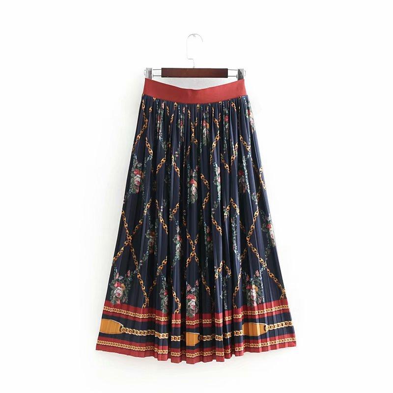 e5b86dd2c58 Vintage Women Chain Print Long Pleated Skirt Female Elastic Waist ...