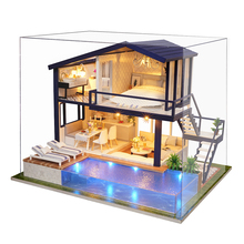 New Furniture Doll House Wooden Miniature DIY DollHouse Furniture Kit Assemble with Dust Cover Doll Home Toys For children A066