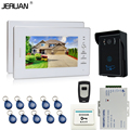 JERUAN 7`` Color Video Door Phone Intercom System + 2 White monitors + RFID Waterproof  Touch key Camera+Remote control