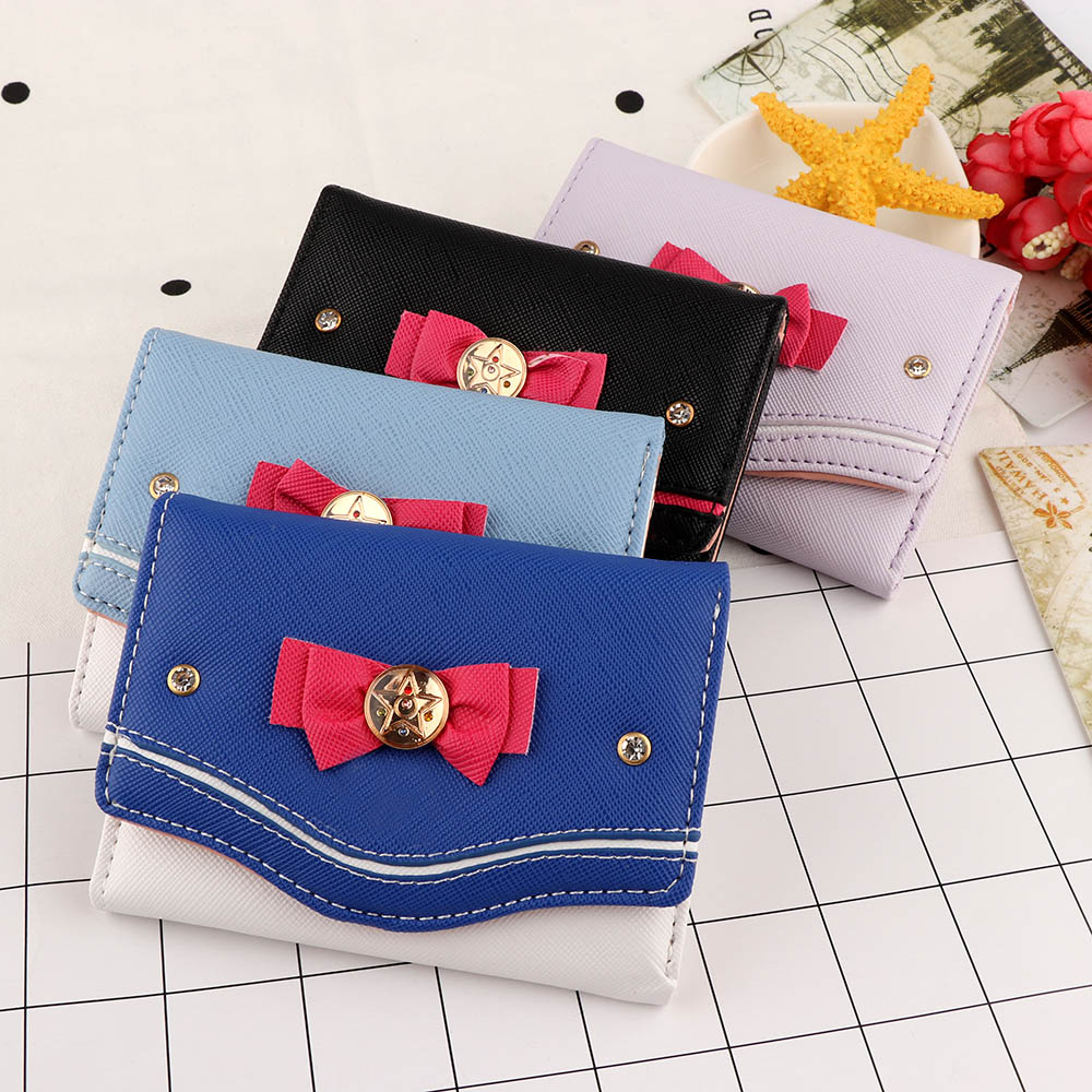 1Pcs 2020 Fashion Women Short Wallet Candy Color Bow Knot Clutch Purse Fashion Girl Sailor Moon Wallet Handbag Card Coin Bag Cut