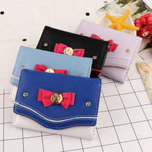 Vrouwen Korte Portemonnee Candy Kleur Bow Knot Clutch Portemonnee Fashion Girl Sailor Moon Portemonnee Handtas Card Coin Bag 2020 Nieuwe populaire