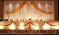 3M*6M White backdrop with gold swag wedding stage curtain Party Supply
