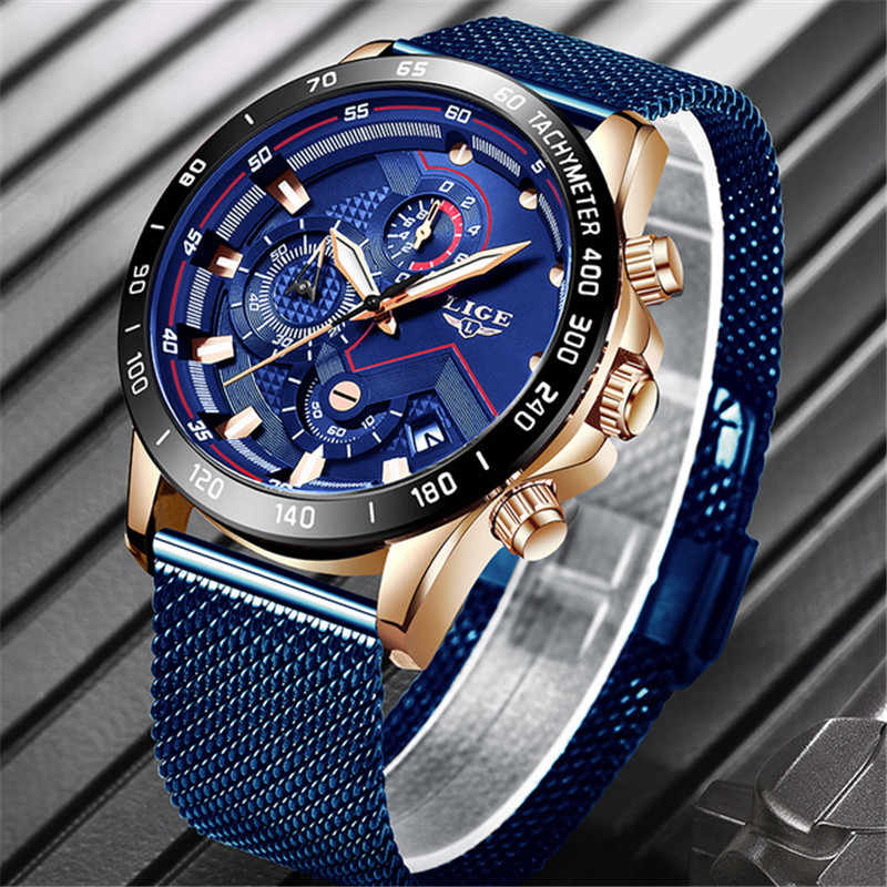 2019 LIGE Top Brand Fashion Watches Men Sport Waterproof Stainless Steel Mesh Belt Quartz Clock Men WristWatch Relogio Masculino