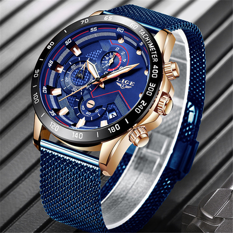 2019 LIGE Top Brand Fashion Watches Men Sport Waterproof Stainless Steel Mesh Belt Quartz Clock Men WristWatch Relogio Masculino