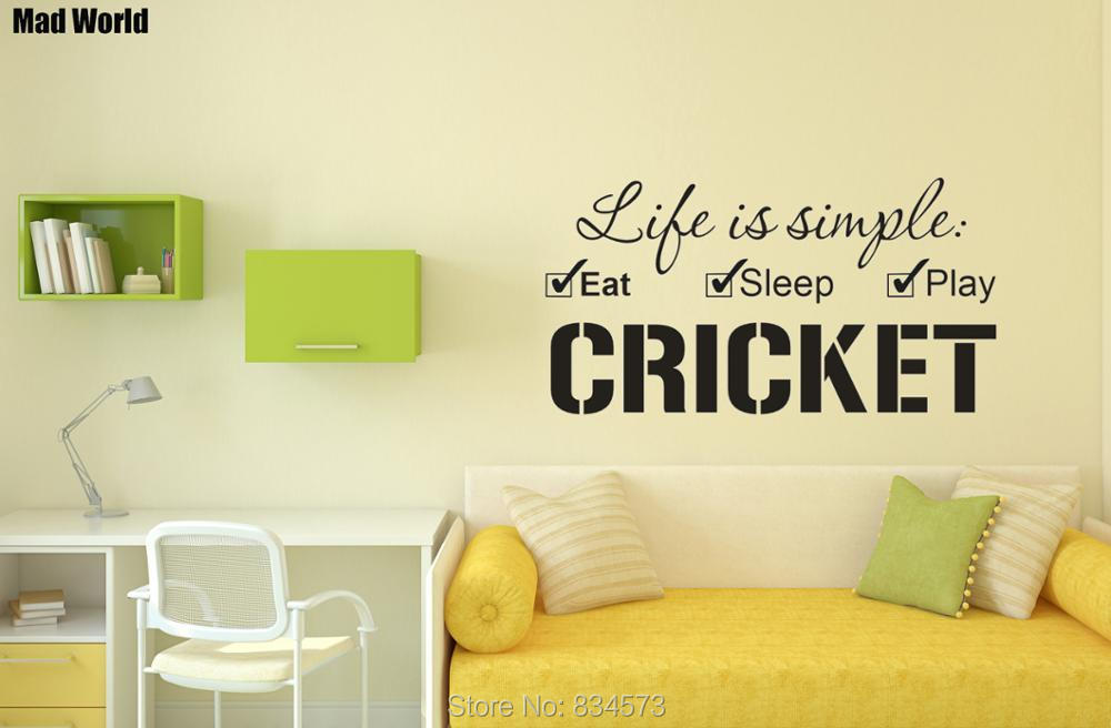 Mad World Life is simple Eat Sleep Play Cricket Wall Art Stickers ...