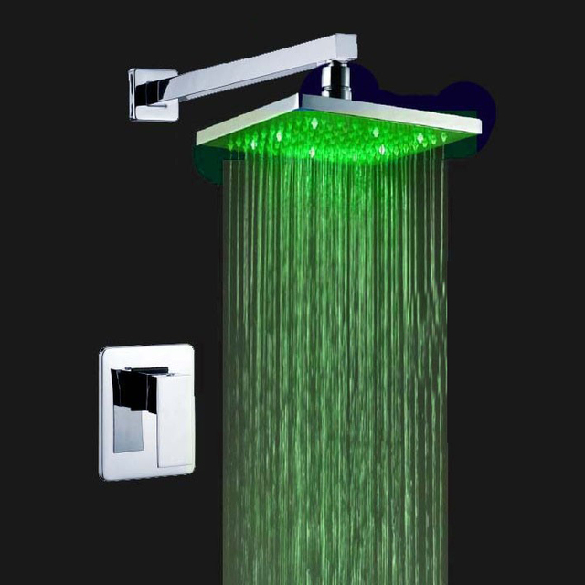 LED Light 3 Colors Bathroom Bah & Shower Faucet Wall Mounted Mixer ...