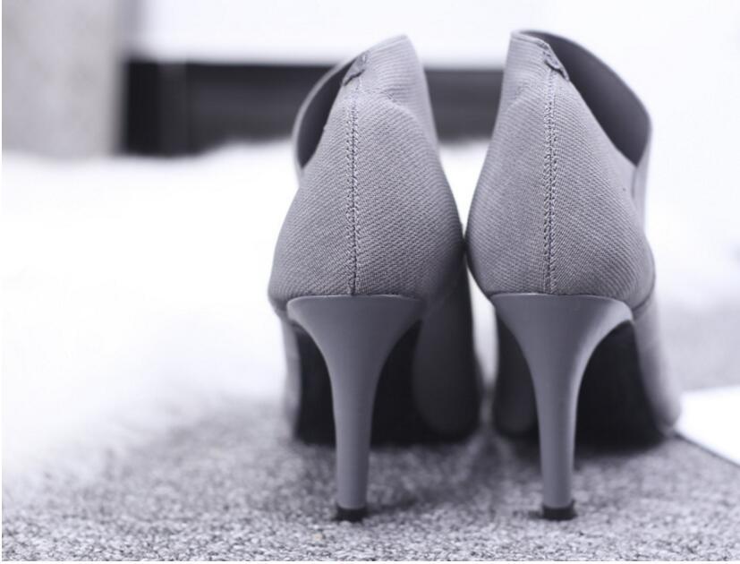 Talons Bottes Noir Bout Unique Chaude Vente Automne Et Outwear De D'hiver Pointu gris D038 Femmes Équipée Hauts Casual Chaussures Base Femelle Mode RqYtR4xw