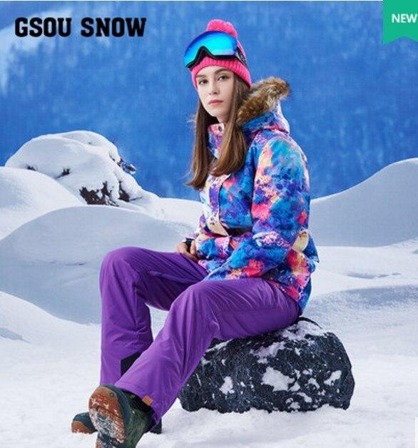 Women's purple ski suit female skiing snowboarding riding clothes violet ski jacket and bib pants suspender ski pants overalls