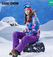 Women S Purple Ski Suit Female Skiing Snowboarding Riding Clothes Violet Ski Jacket And Bib Pants