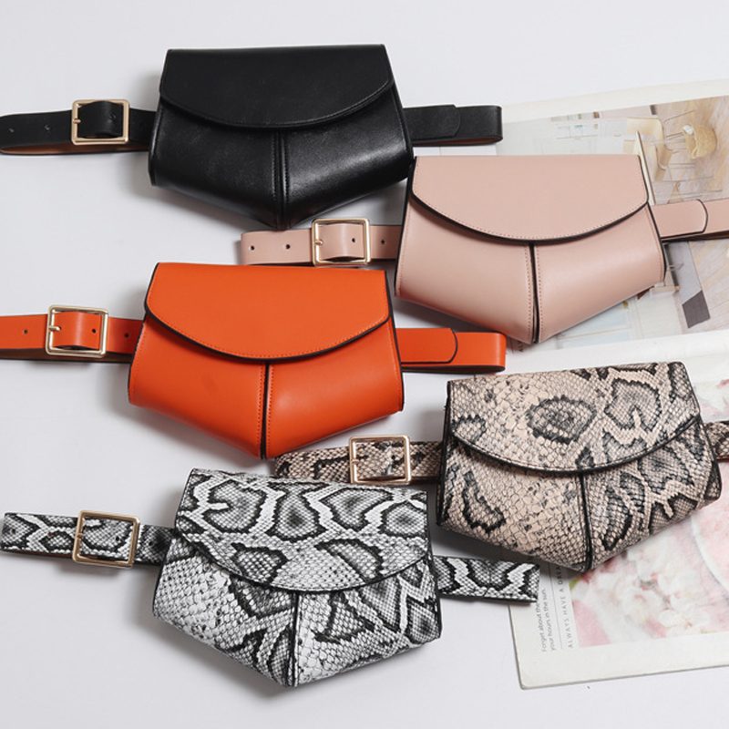 bf5b1d53746 Serpentine Fanny Pack Ladies PU Leather Waist Belt Bag women Mini Disco  Waist pack luxury handbags ...