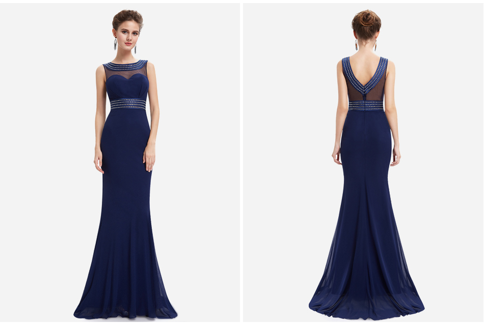 [Beads Easy To Fall] Women Evening Dresses Ever Pretty EP08734 Mermaid Evening Dress See Through Gowns Evening Party Dresses 5