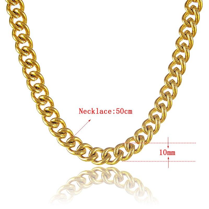 Gold Color Mens 10MM 50cm Neklace Chain High Quality Men Fashion Gold-Tone Women Necklace P065